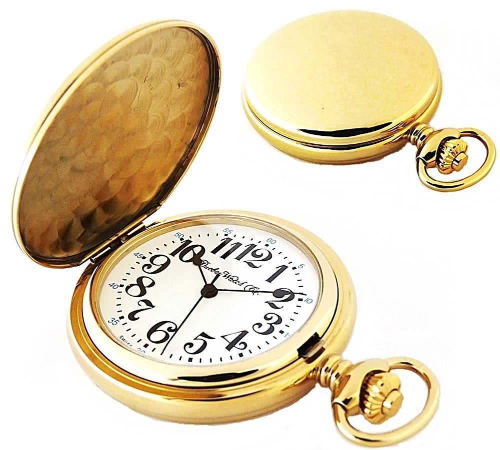 Image of Dueber Pocket Watch, Swiss Made Quartz Movement, Gold Plated Steel Hunting Case 412-310