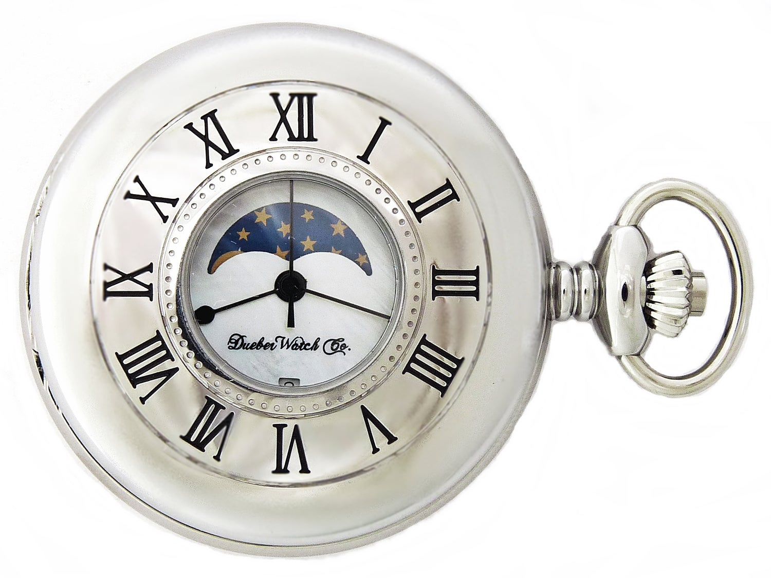Image of Dueber Pocket Watch, Genuine Mother of Pearl Dial, with Moon Phase, Chrome Plated Steel Case 342-241