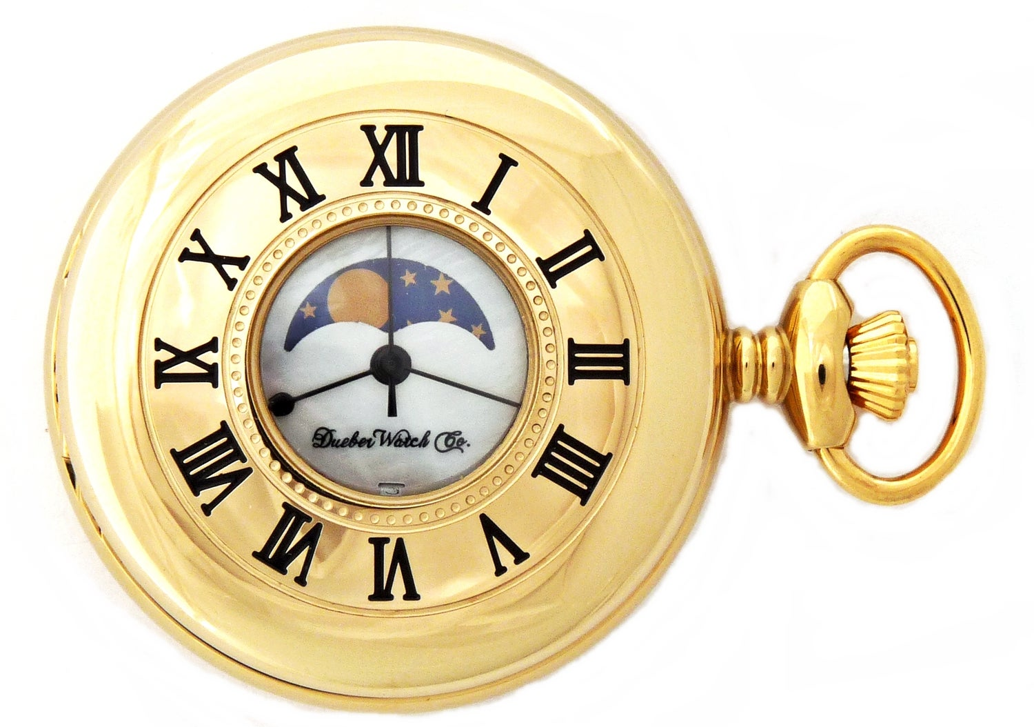 Image of Dueber Pocket Watch, Genuine Mother of Pearl Dial, with Moon Phase, Gold Plated Steel Case 442-241