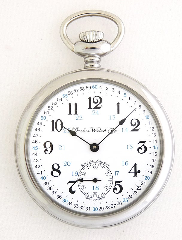 "Image of Dueber Pocket Watch, Swiss Mechanical Movement ""Special Railway"" 24 Hour Montgomery Dial SR5"