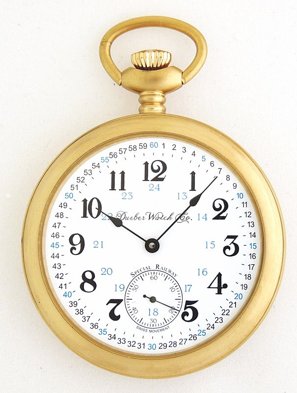 "Image of Dueber Pocket Watch, Swiss Mechanical Movement ""Special Railway"" 24 Hour Montgomery Dial, SR3"