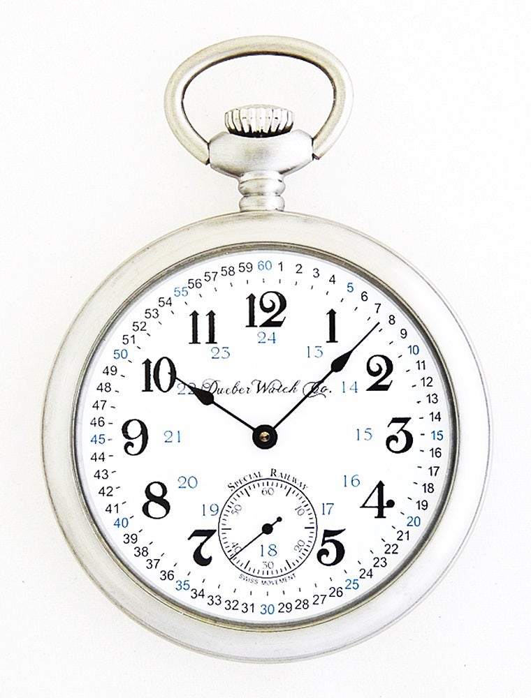 """2aec8538e Image of Dueber Pocket Watch, Swiss Mechanical Movement """"Special Railway""""  24 Hour Montgomery"""