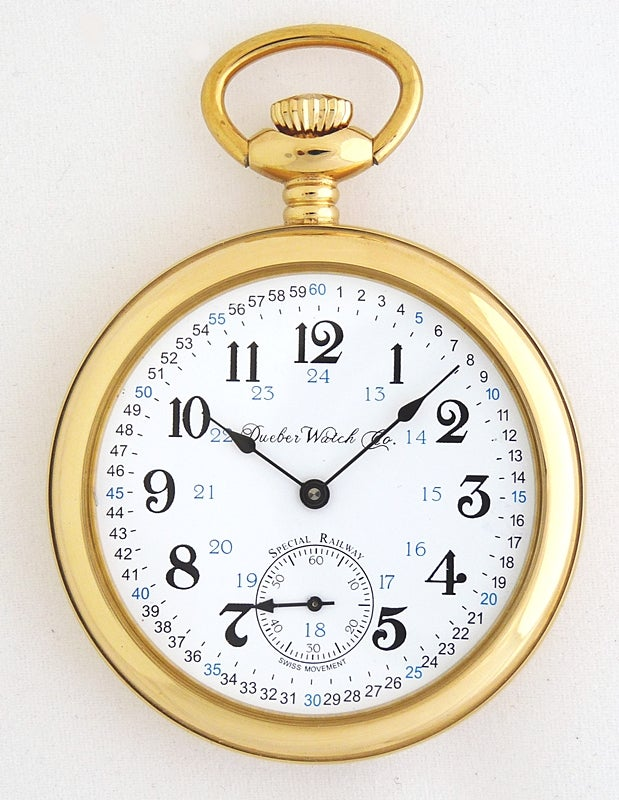 "Image of Dueber Pocket Watch, Swiss Mechanical Movement ""Special Railway"" 24 Hour Montgomery Dial, SR7"