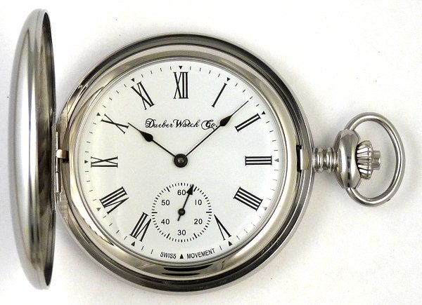 Image of Dueber Pocket Watch with Swiss Made Mechanical Movement, Chrome Plated Steel Case, Model 26