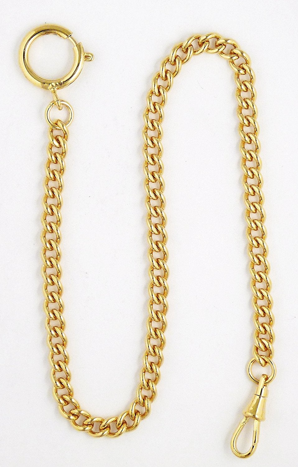 "Image of Dueber Yellow Gold Plated Stainless Steel ""Sport Chain"" Pocket Watch Chain with Spring Ring 548G"