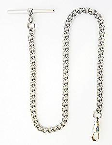 "Image of Dueber Chrome Plated Stainless Steel ""Single Albert"" Pocket Watch Chain 548WT"