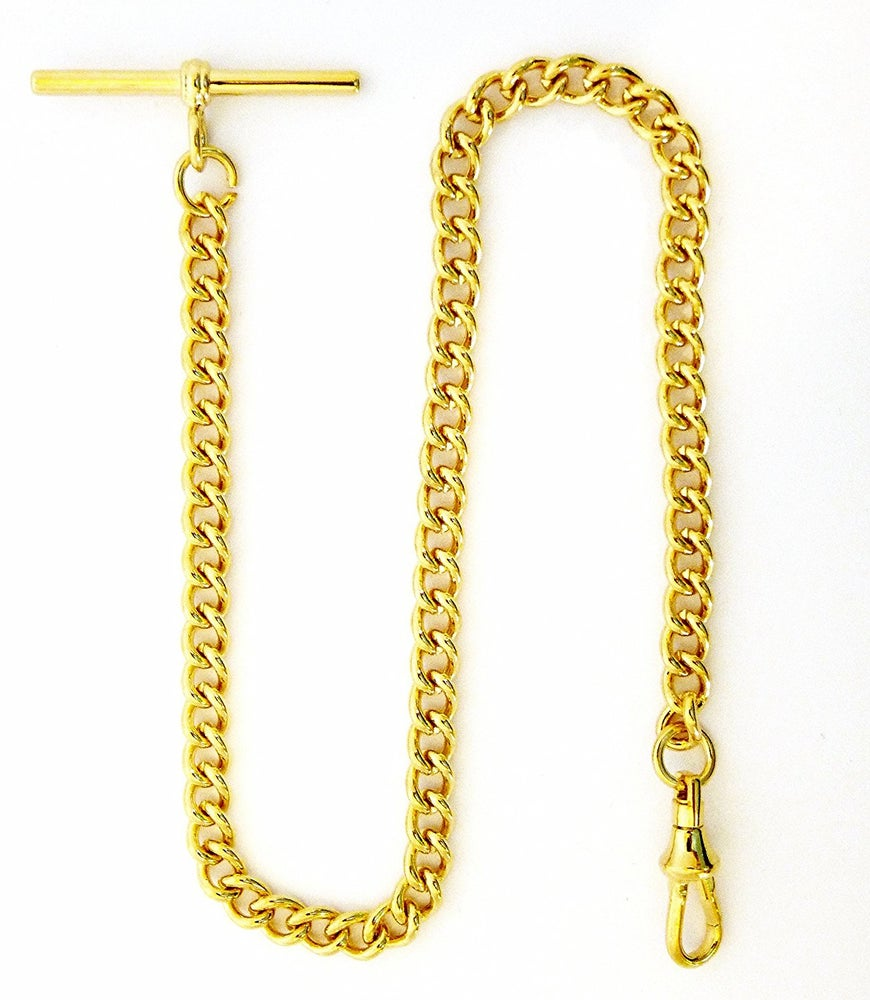 "Image of Dueber Gold Plated Stainless Steel ""Single Albert"" Pocket Watch Chain 548GT"