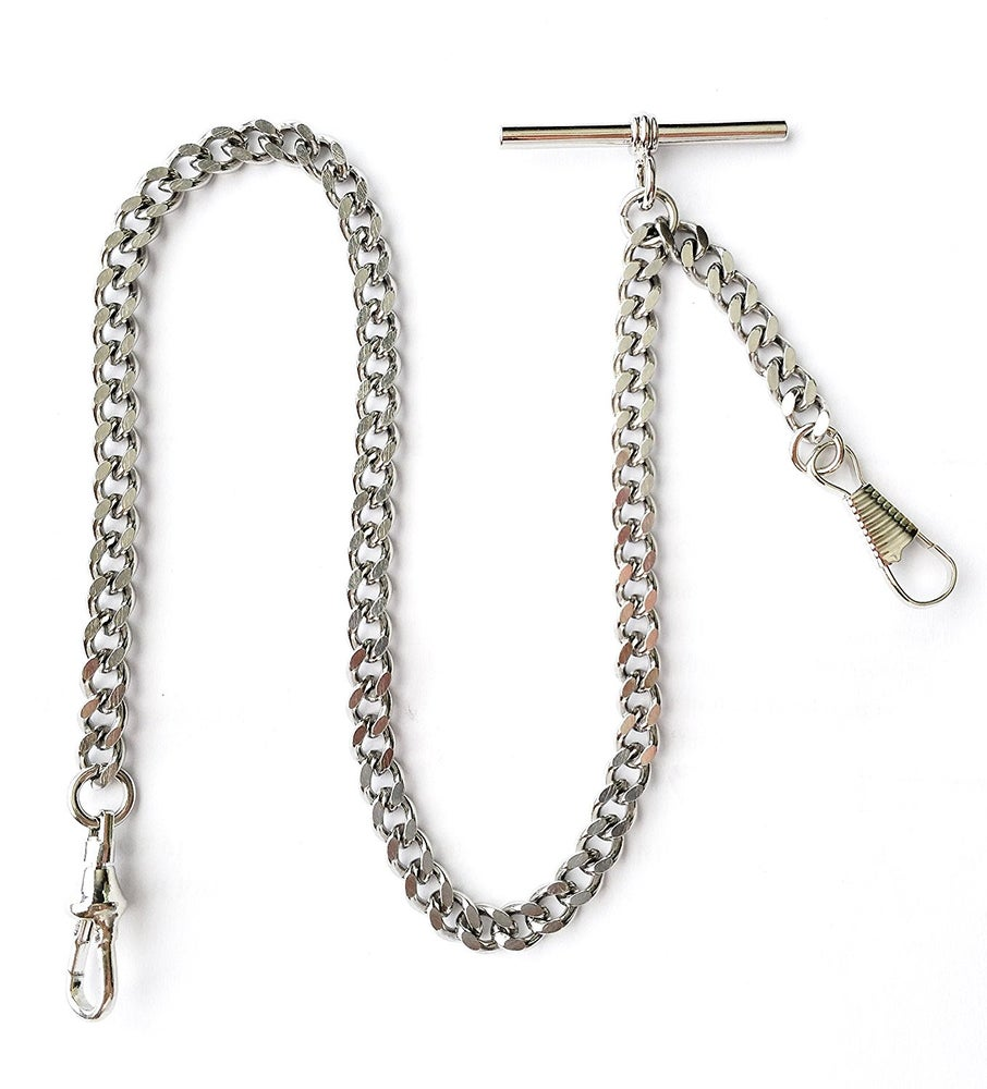 Image of Dueber Deluxe Silver Chrome Single Albert Pocket Watch Chain Fob Drop Attachment USA 505WTD