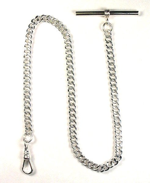 """Image of High Quality 12″ Solid Sterling Silver """"Single Albert"""" Pocket Watch Chain with T Bar WC12SST"""