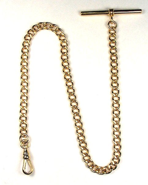 "Image of High Quality 12 inch 14K Gold Filled ""Single Albert"" Pocket Watch Chain with T Bar WC12GFT"