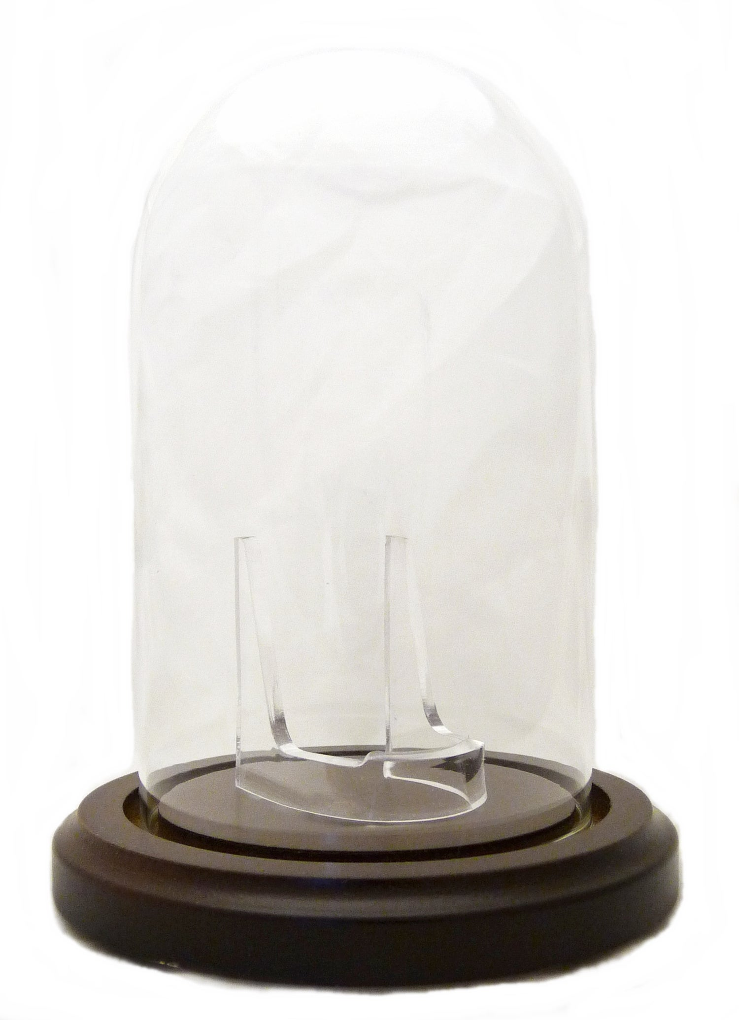 Image of Dueber Pocket Watch Glass Display Dome with Clear Stand, Walnut Stained Base 3″x5″ DBR238-30WD