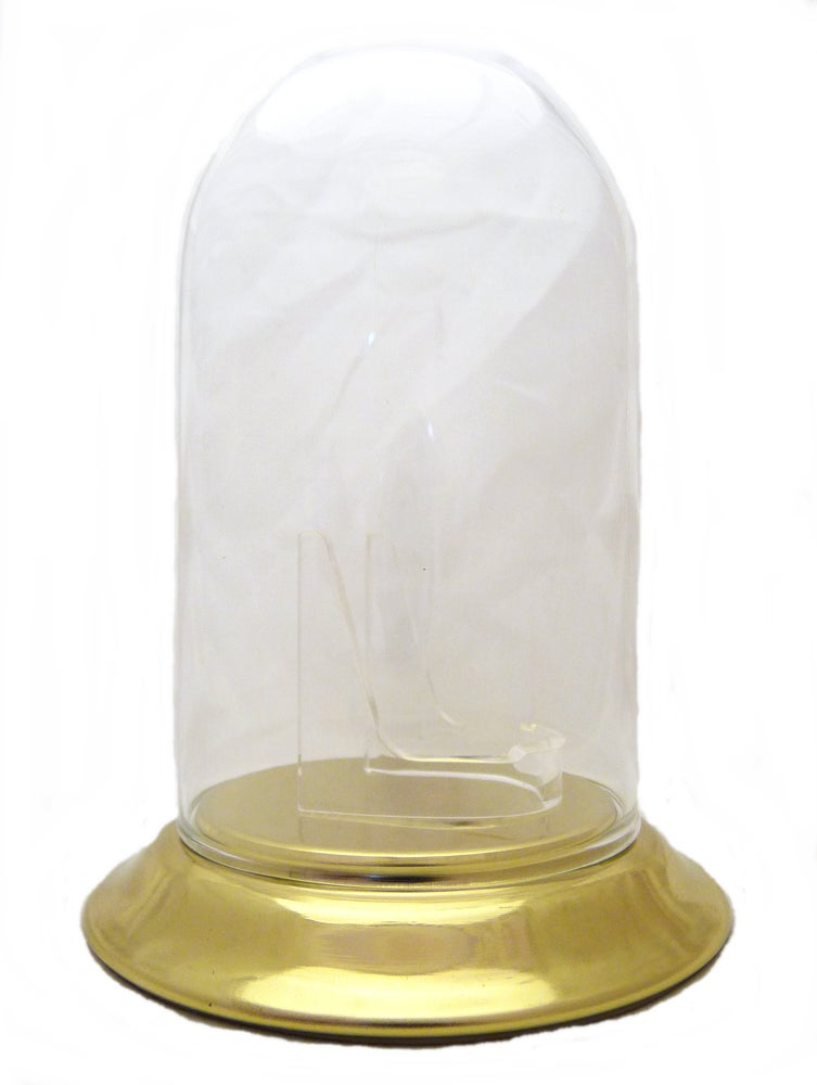 Image of Dueber Pocket Watch Glass Display Dome with Clear Stand, Gold Base 3″x5″ DBR238-30BR