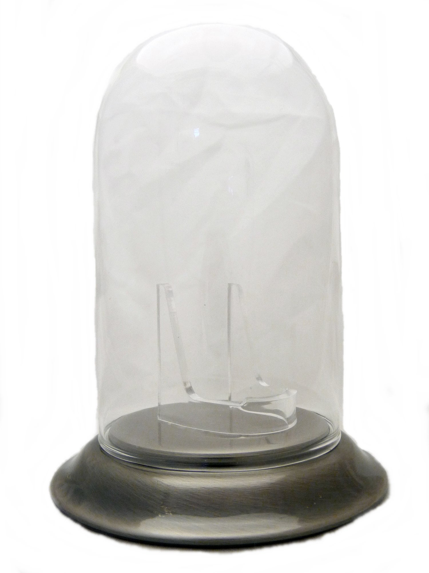 Image of Dueber Pocket Watch Glass Display Dome with Clear Stand, Chrome Silver Base 3″x5″ DBR238-30PT