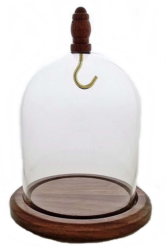 Image of Dueber Pocket Watch Glass Display Dome with Wood Knob, Hook, Real Walnut Base 3″x4″ DBR32WDH