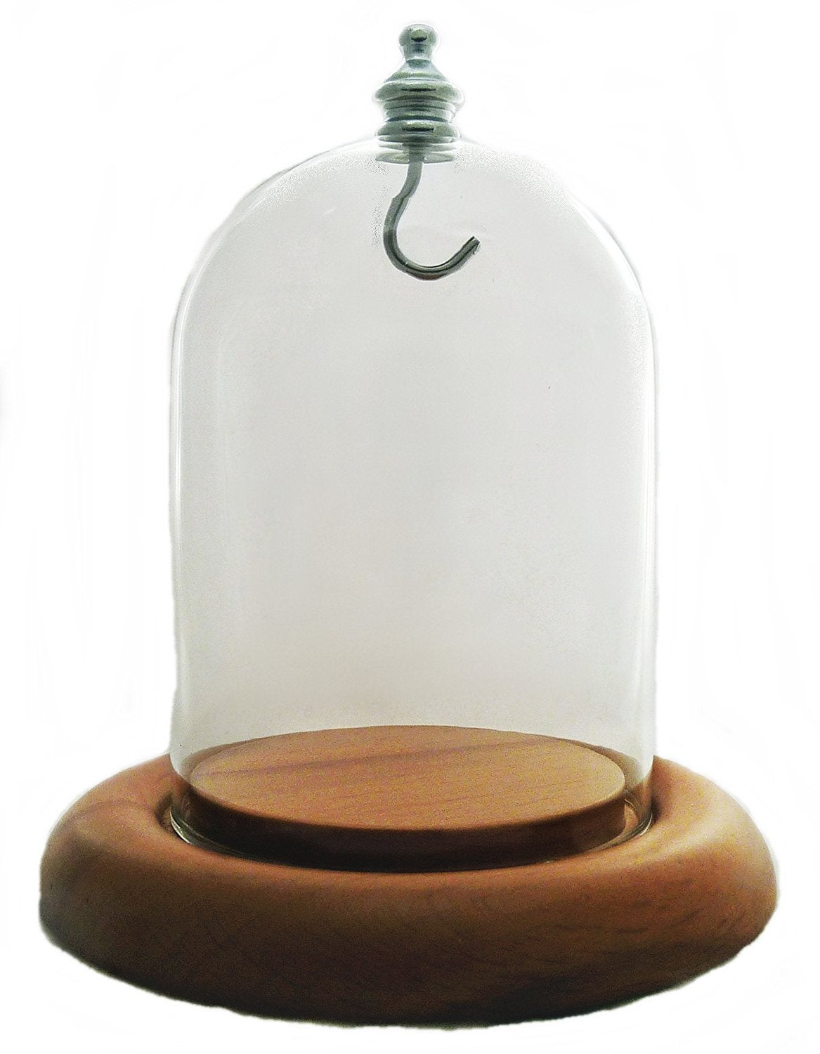 Image of Dueber Pocket Watch Glass Display Dome with Silver Knob & Hook, Oak Base 3″x4″ DBR31SOKH