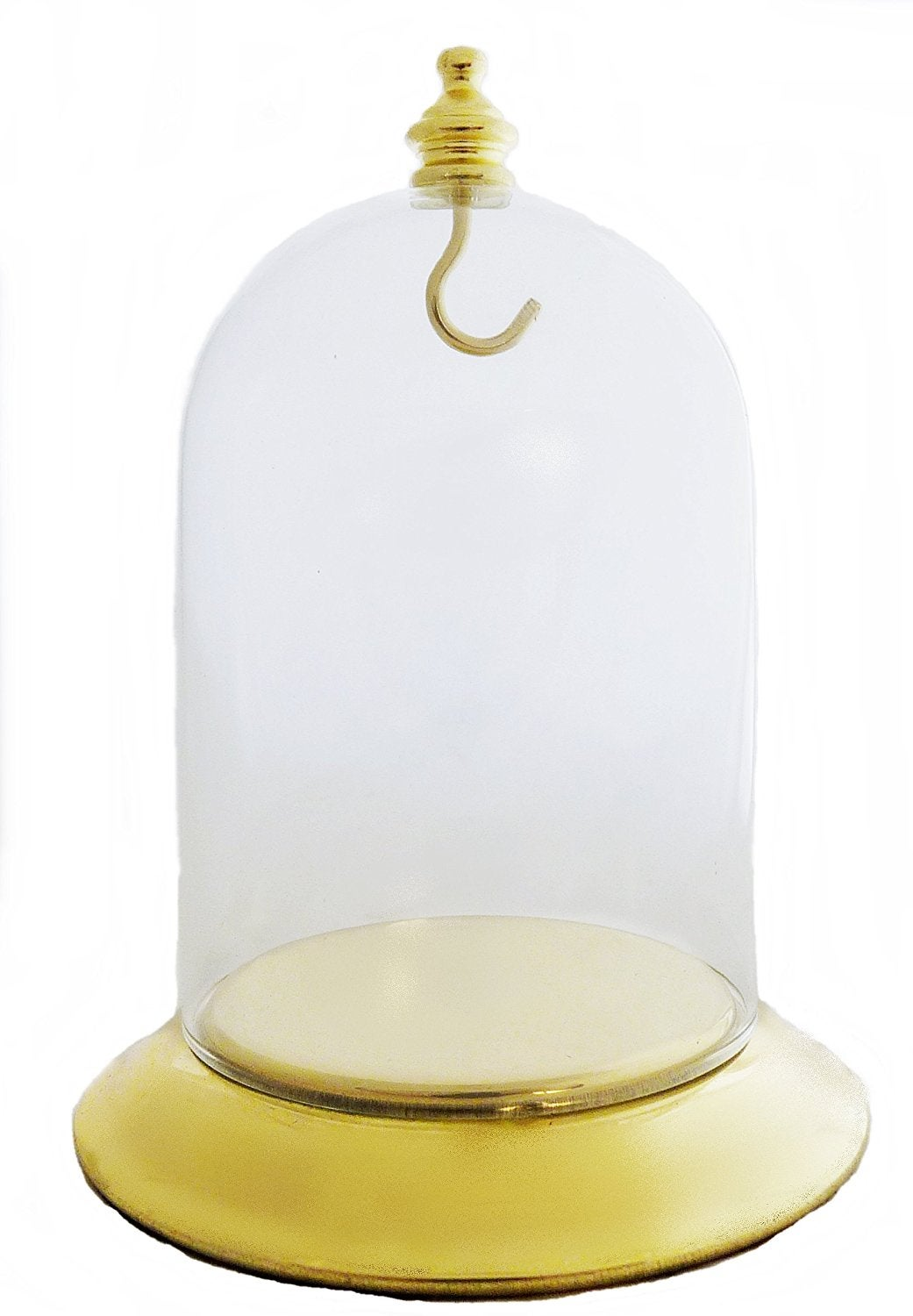 Image of Dueber Pocket Watch Glass Display Dome with Gold Knob & Hook, Gold Base 3″x4 DBR31BRH