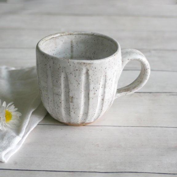 Image of Carved Speckled Stoneware Mug in Matte White Glaze 12 oz. Made in USA