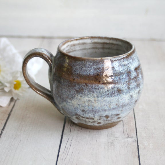 Image of White Glazed Mug on Toasted Brown Speckled Stoneware 15 oz. Made in USA