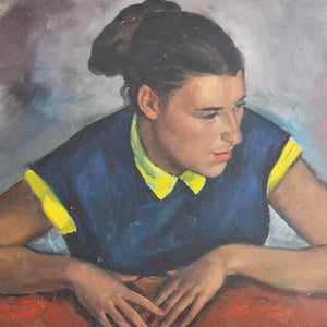 Image of 1930's, Oil Portrait, Girl with a Yellow Collar