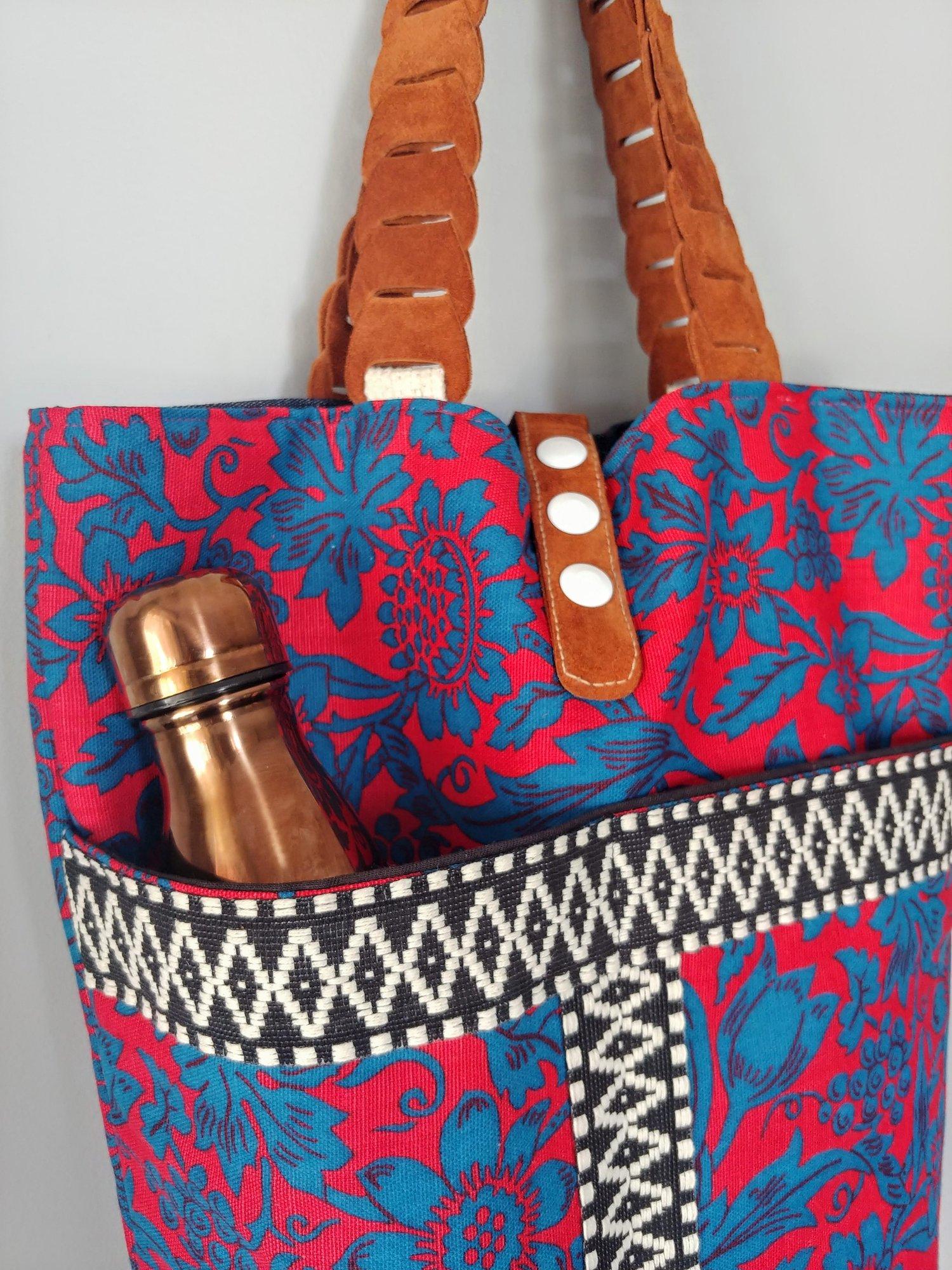 Image of Edit Spring 2018 Vintage Fabric & Repurposed Leather Bucket Tote