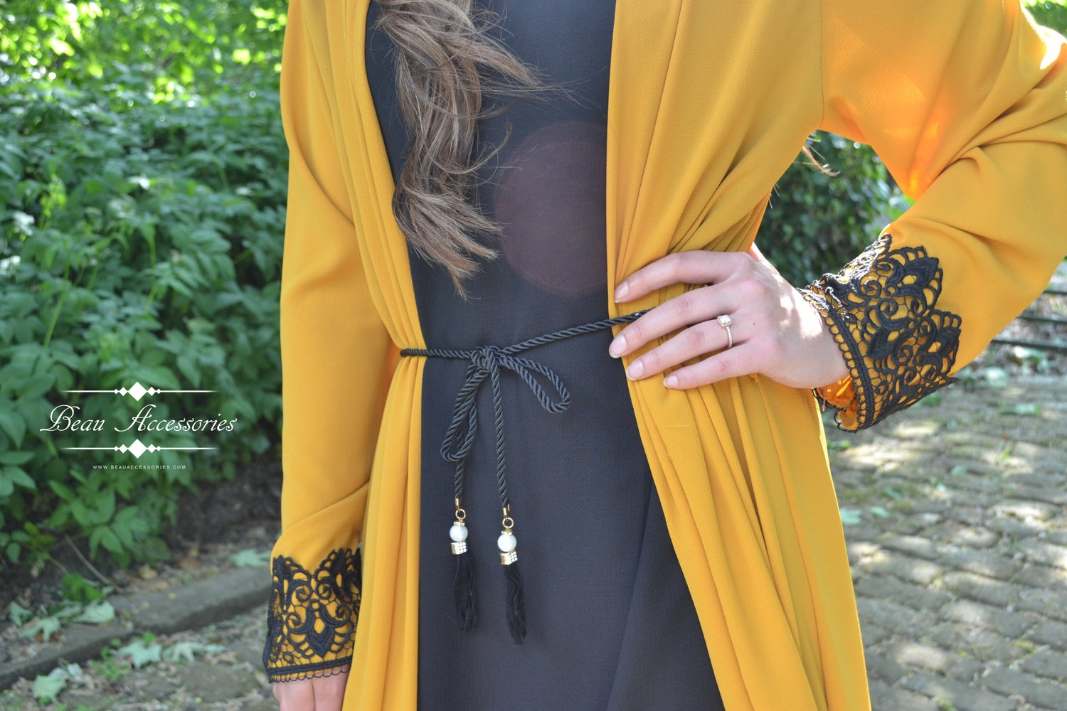 Image of Mustard and Black Lace Dress