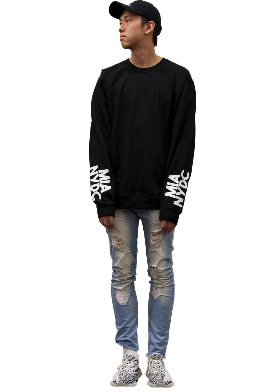 Image of obsidian black crewneck