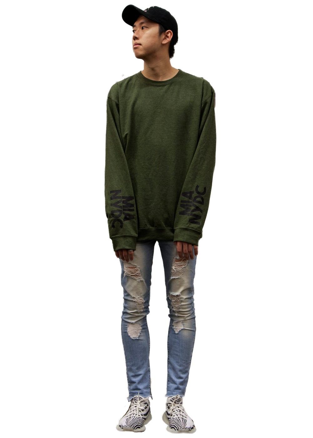 Image of army heather crewneck