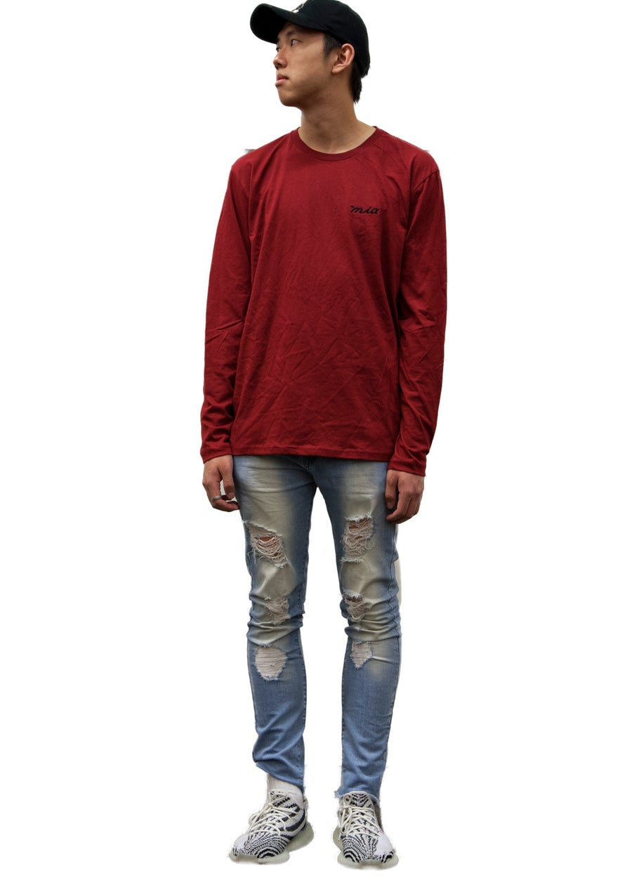 Image of burgundy long sleeve