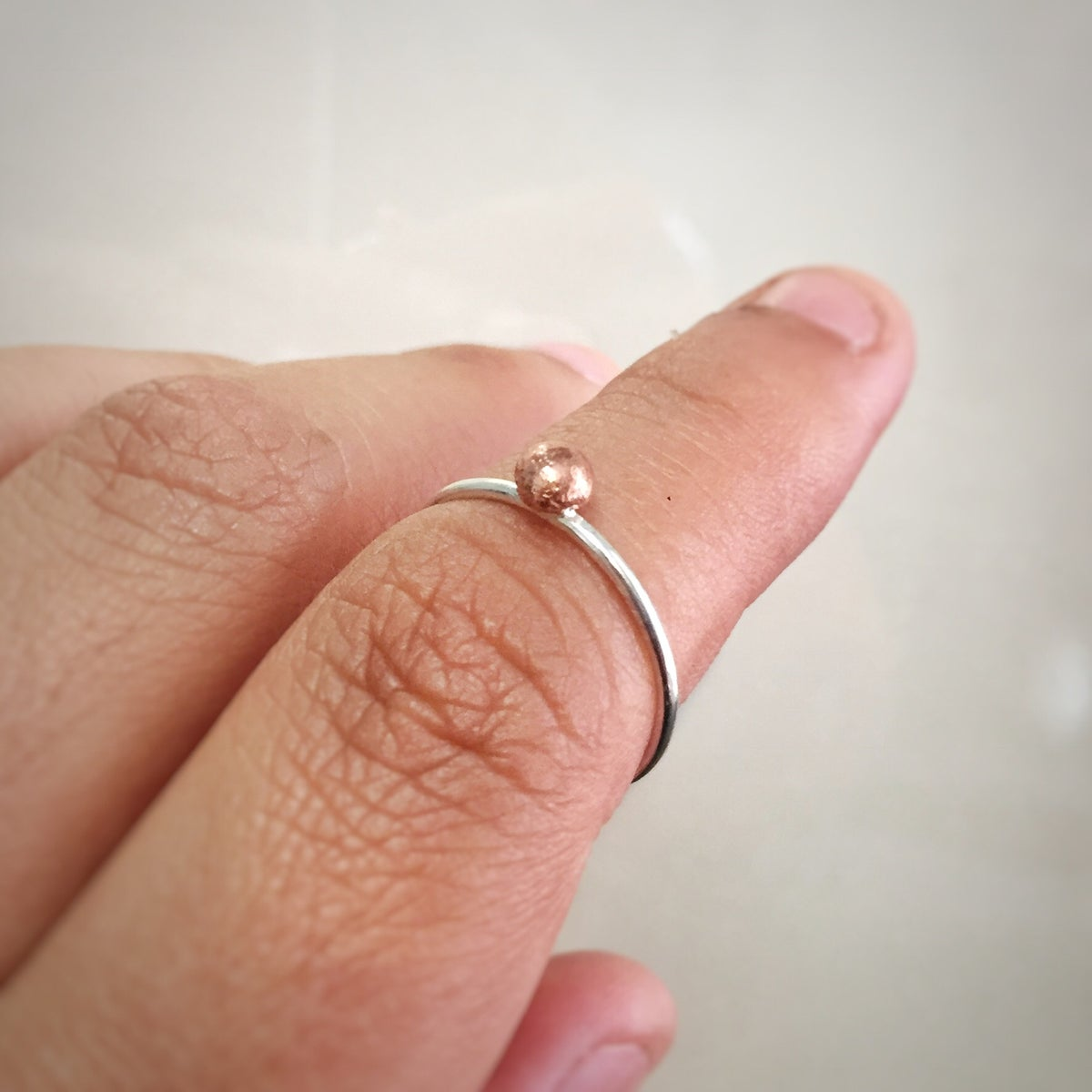 Image of Stackable Sterling Silver Ring with Recycled Copper