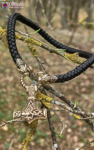 Image of Thor's Hammer : MJOLNIR - Pantera Heads Leather Necklace