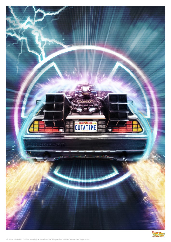 """Image of Delorean 11.7"""" x 16.5"""" (officially licensed)"""