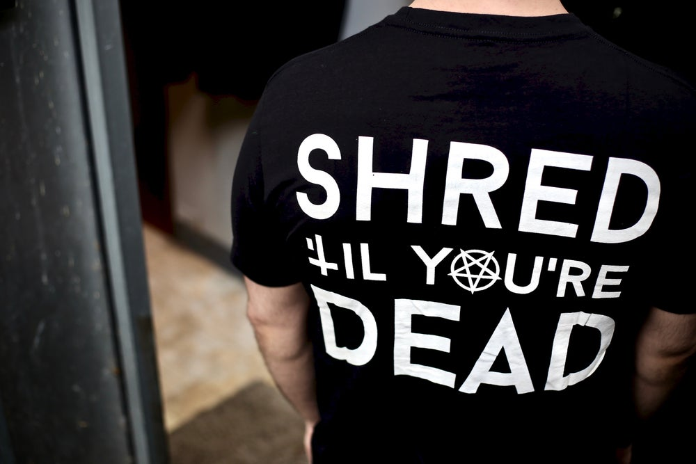 "Image of ""Shred 'Til You're Dead"" Tee - Black"