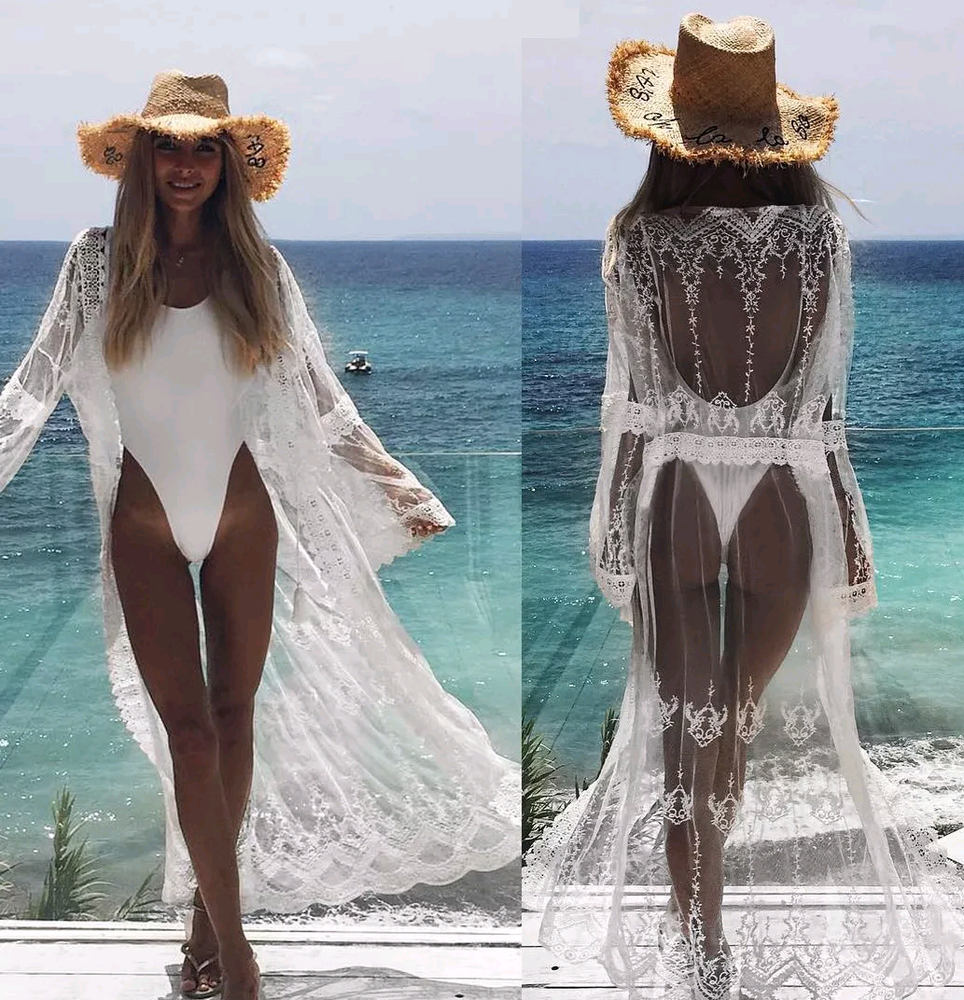 Image of White lace mesh open beach cover up