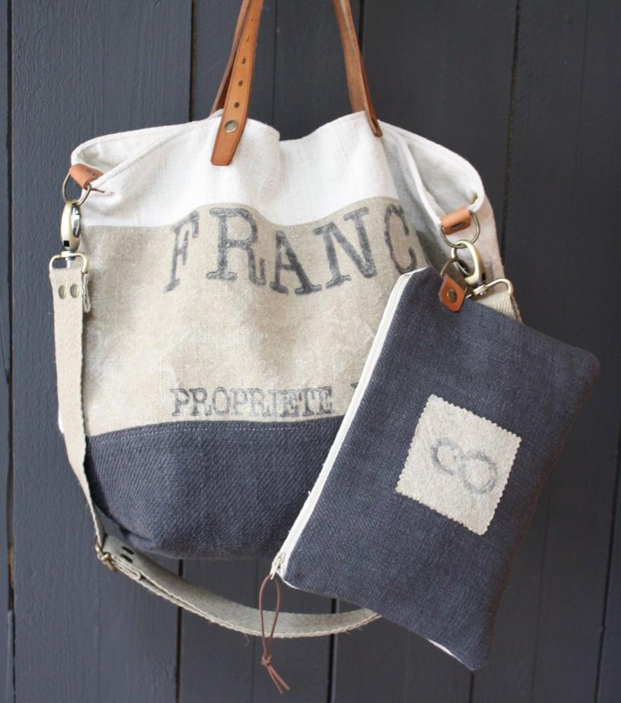 Image of Ensemble sac cabas Poste France gris orage + pochette assortie.