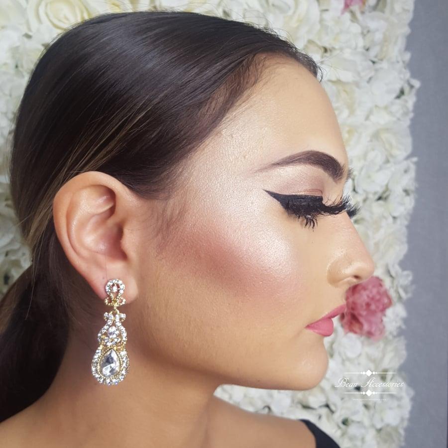 Image of Crystal Drop Earrings (Golden)