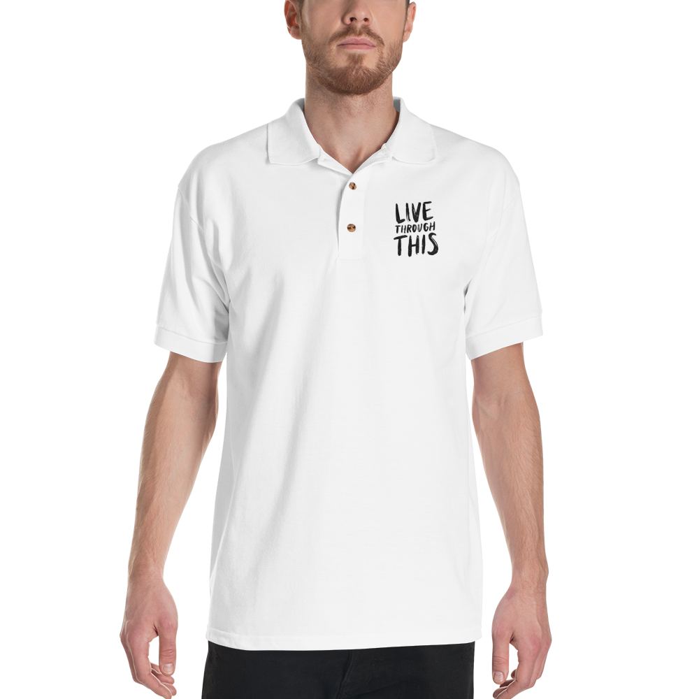 Image of Unisex Brushstroke Embroidered Polo - White