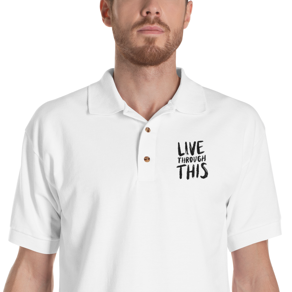 Image of Unisex Brushstroke Embroidered Polo - White