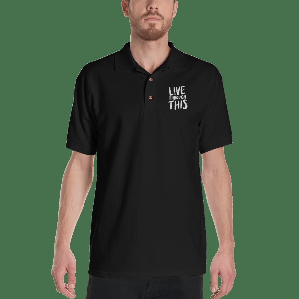 Image of Unisex Brushstroke Embroidered Polo - Black