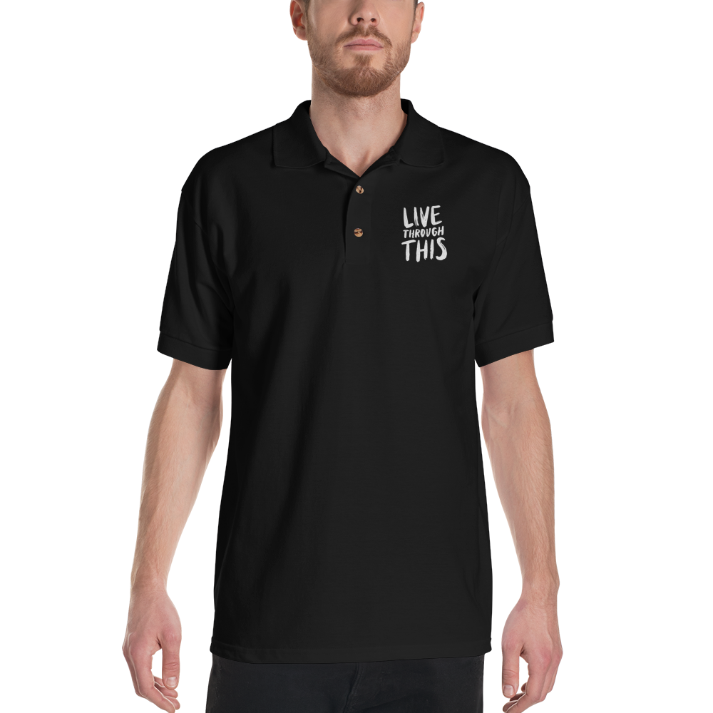 Image of Unisex Brushstroke Embroidered Polo - Black