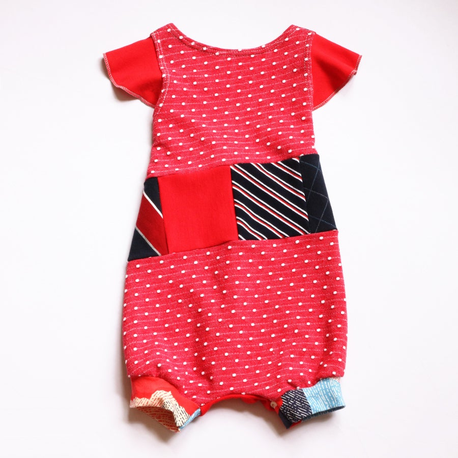 Image of ramona red 5/6 patchwork white and blue USA flutter romper