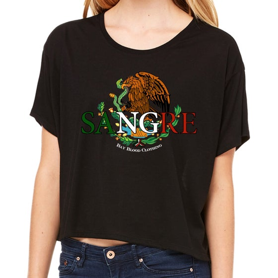 Image of Ladies Mexican Sangre crop tee