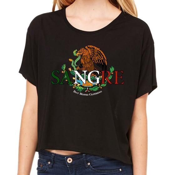 Image of Ladies Mexican Sangre crop tee