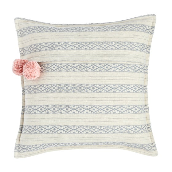 Image of P o l k u cushion, with pink poms