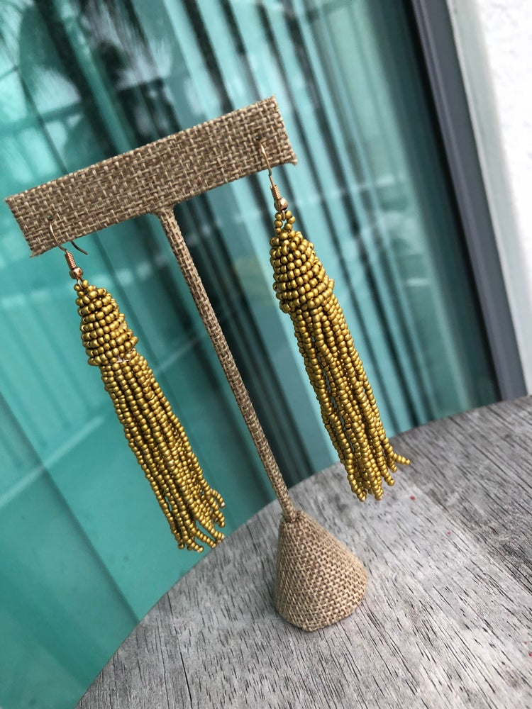 Image of Gold beaded tassel earrings