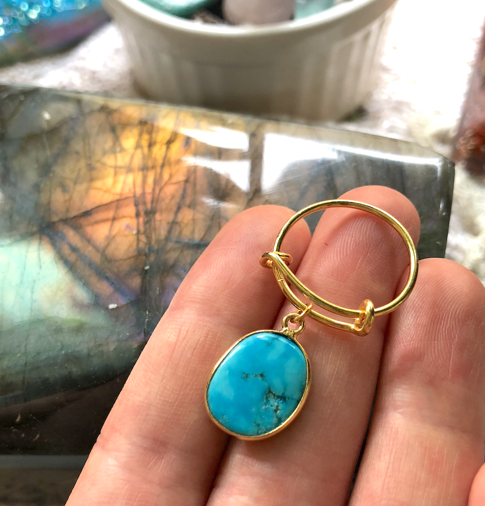 Image of Genuine Turquoise 24K Gold Plated Adjustable Ring