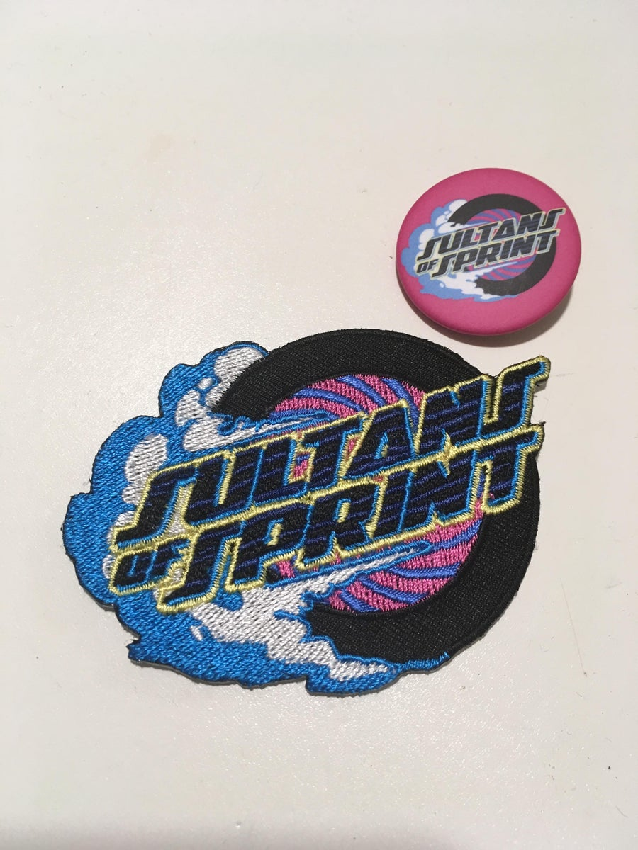 Image of Sultans of Sprint patch & button badge set