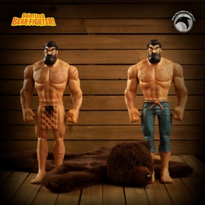Image of Shirtless Bear-Fighter: SIGNED Limited Edition Vinyl Two-Pack w/BONUS Bear Rug! LESS THAN 30 LEFT!