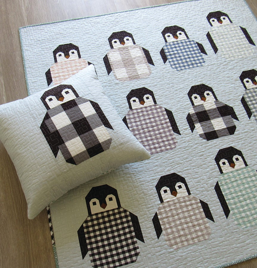 Image of PENGUIN PARTY pdf quilt and pillow pattern