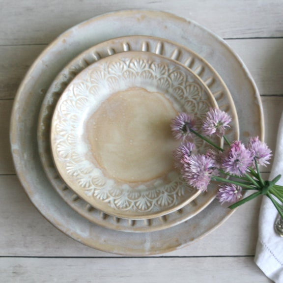 Image of Custom Made Stoneware Pottery Dinnerware - Three Piece Place Setting in Rustic White Made in USA