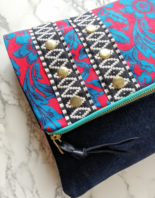 Image of Edit Spring 2018 Vintage Floral & Selvedge Denim Fold-Over Clutch